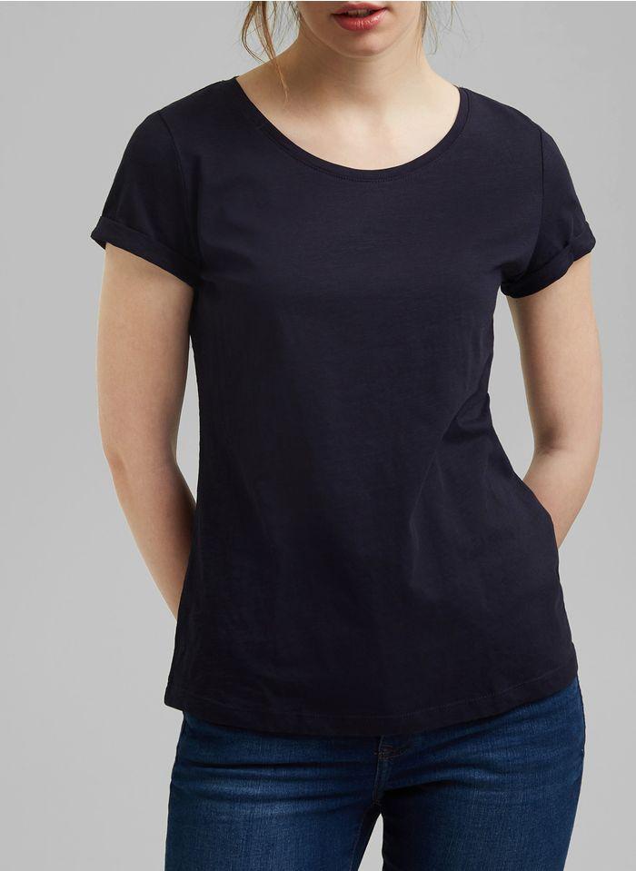 ESPRIT Rundhals-T-Shirt aus Bio-Baumwolle in Blau