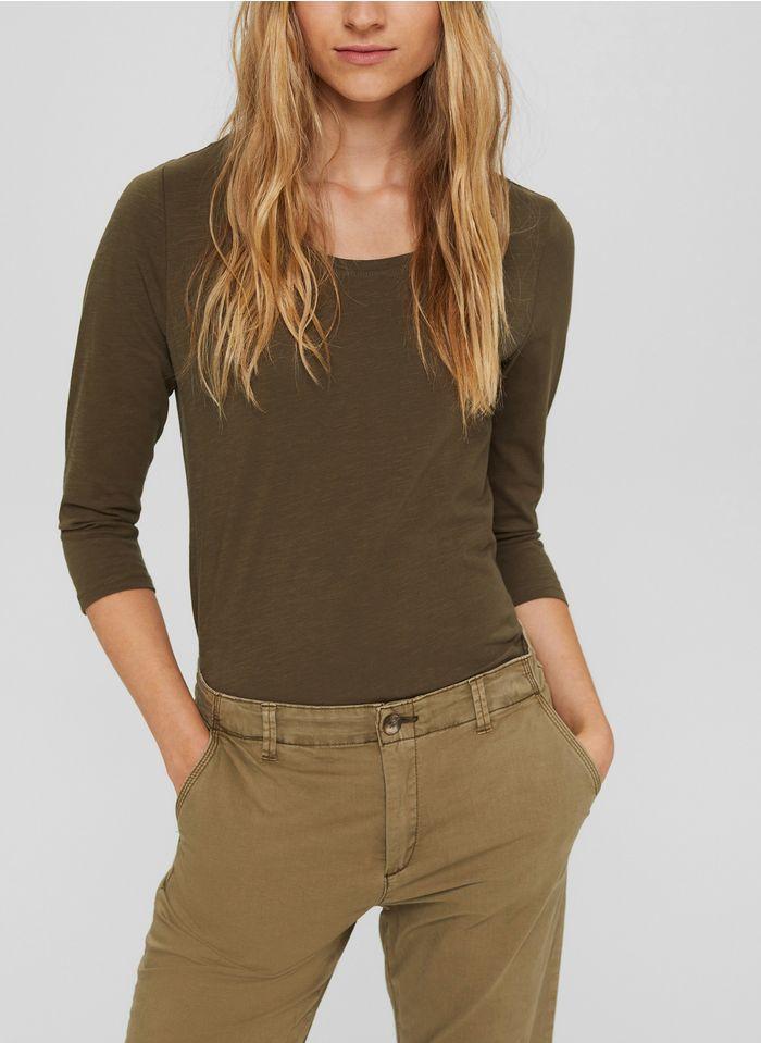 ESPRIT Rundhals-T-Shirt aus Bio-Baumwolle in Khaki