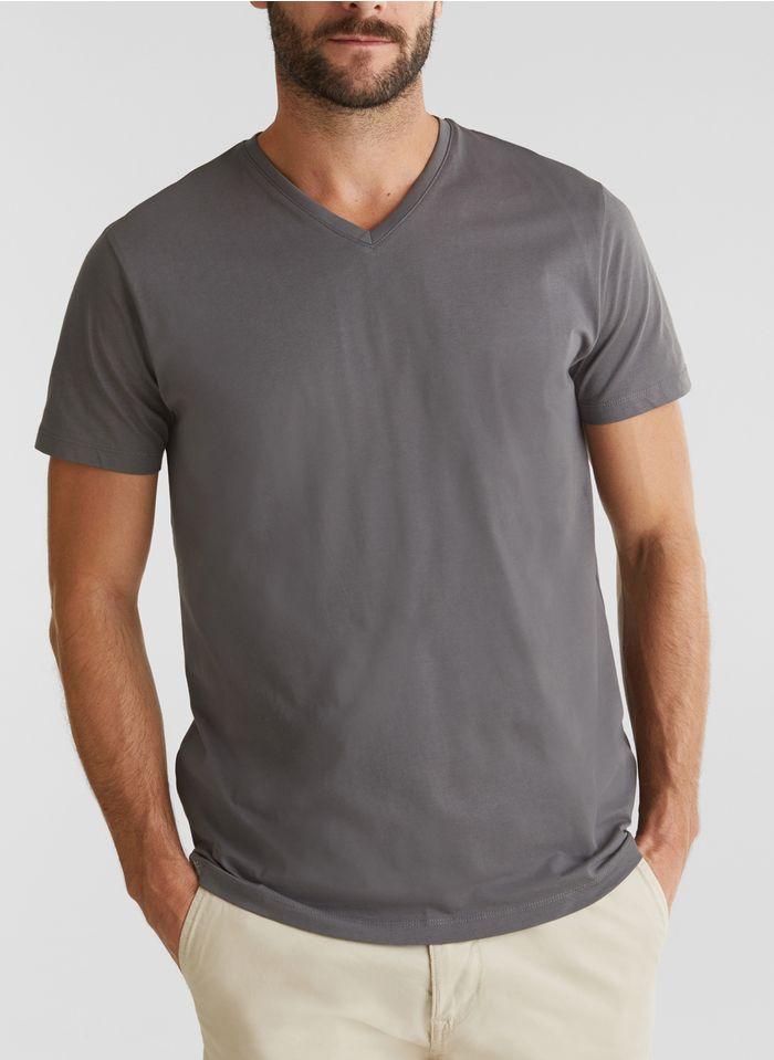 ESPRIT T-Shirt aus Bio-Baumwolle mit V-Ausschnitt, Regular Fit in Grau