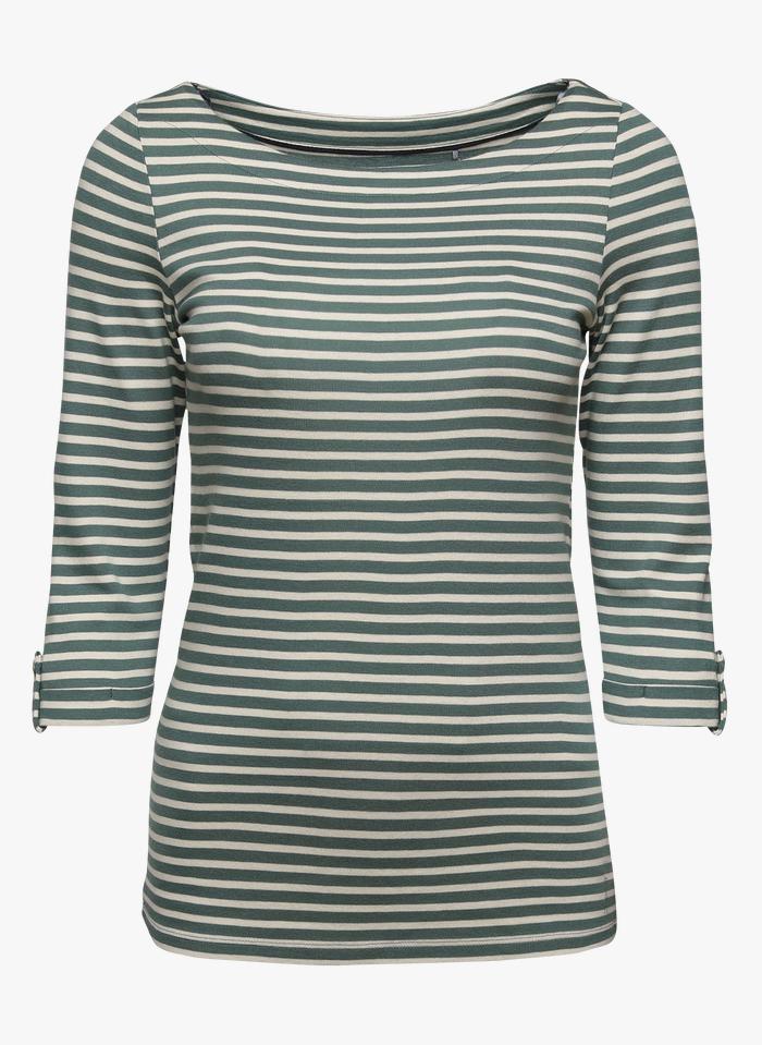 ESPRIT T-Shirt mit U-Boot-Ausschnitt aus Bio-Baumwolle in Grün