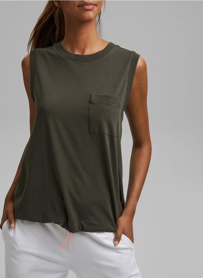 ESPRIT Weites, ärmelloses Rundhals-T-Shirt aus Baumwoll-Mix in Khaki