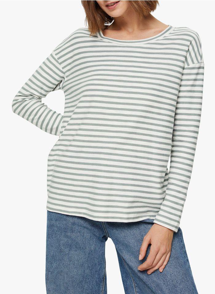 ESPRIT Weites, gestreiftes Rundhals-T-Shirt aus Bio-Baumwolle in Grün