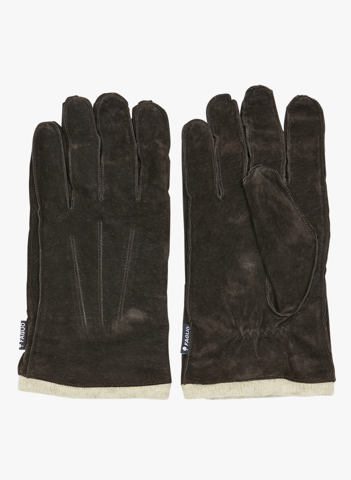 FAGUO Handschuhe aus Veloursleder in Braun