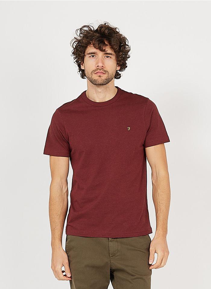 FARAH Rundhals-T-Shirt aus Baumwolle, Slim Fit in Braun