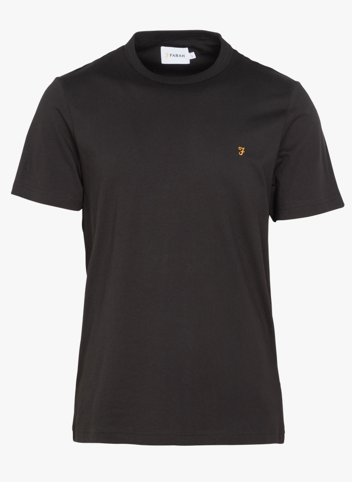 FARAH Rundhals-T-Shirt aus Baumwolle, Slim Fit in Schwarz