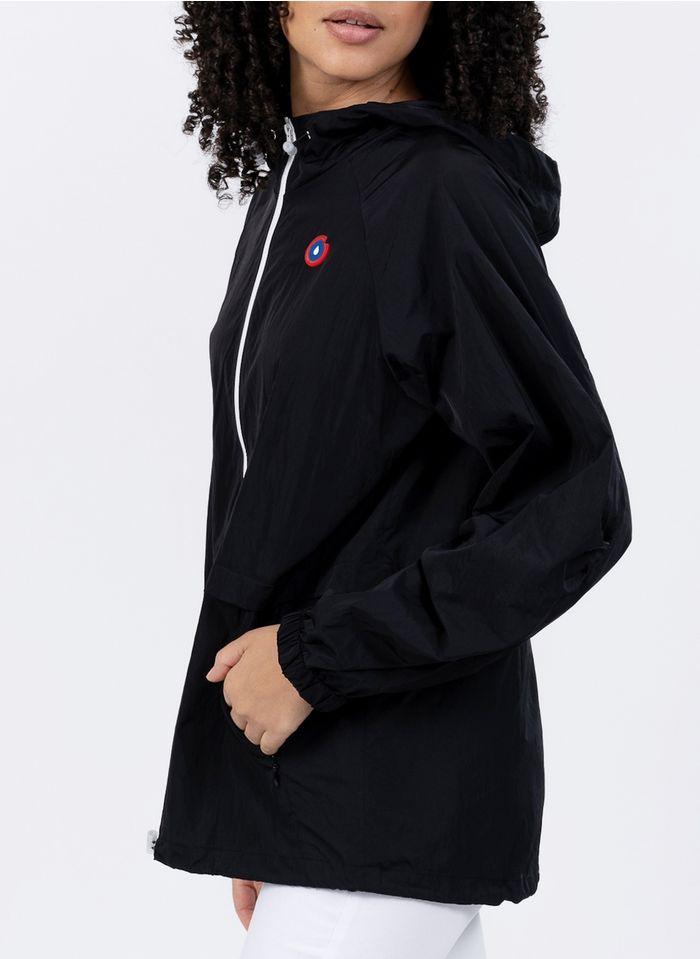 FLOTTE In eine Tasche umwandelbarer Anorak mit Kapuze in Schwarz