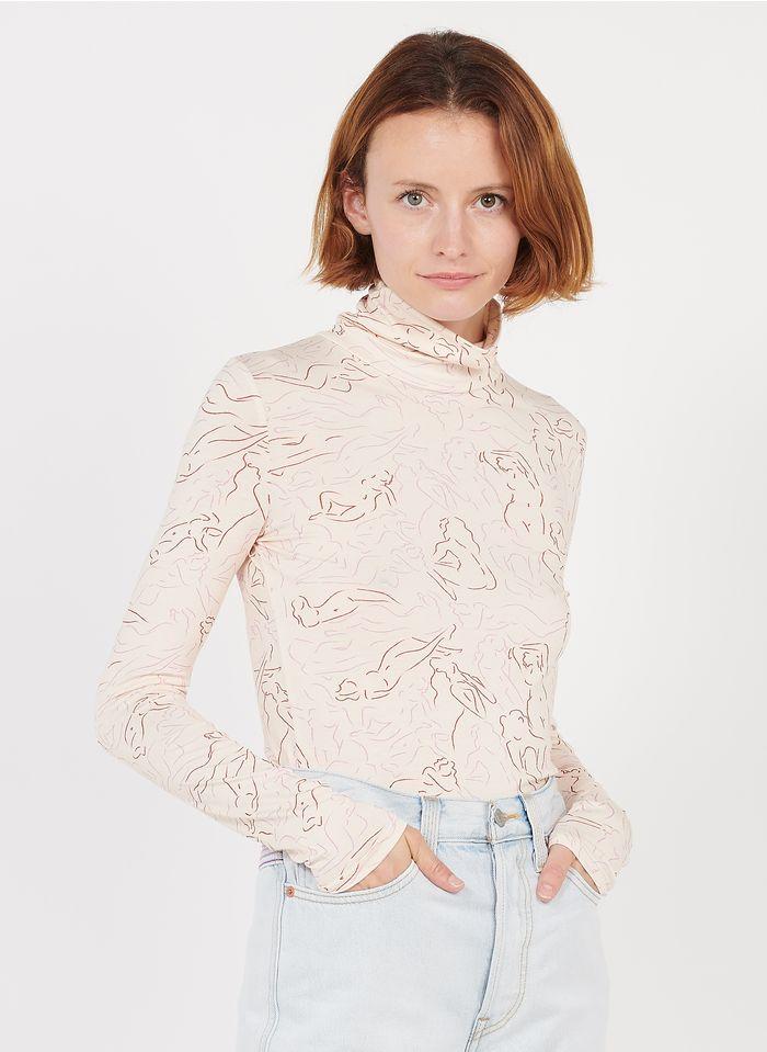 FRNCH Langärmeliges T-Shirt mit Rollkragen und Print in Violett