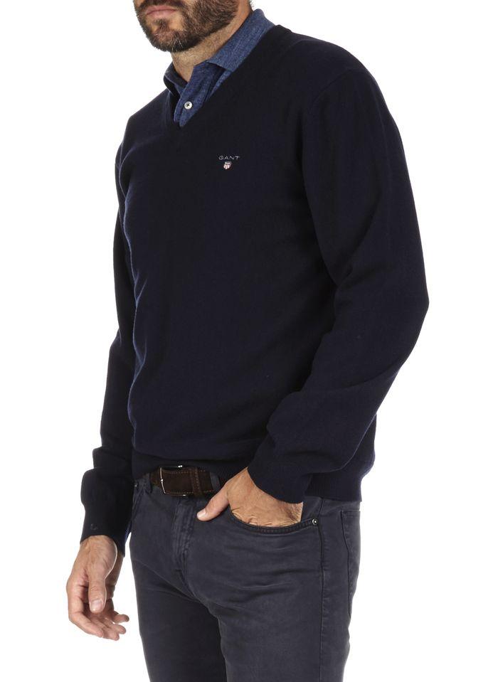 GANT Pullover aus extrafeiner Wolle mit V-Ausschnitt in Blau