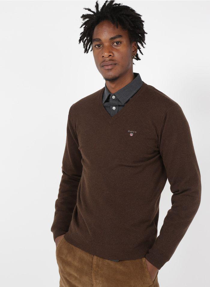 GANT Pullover aus extrafeiner Wolle mit V-Ausschnitt in Braun