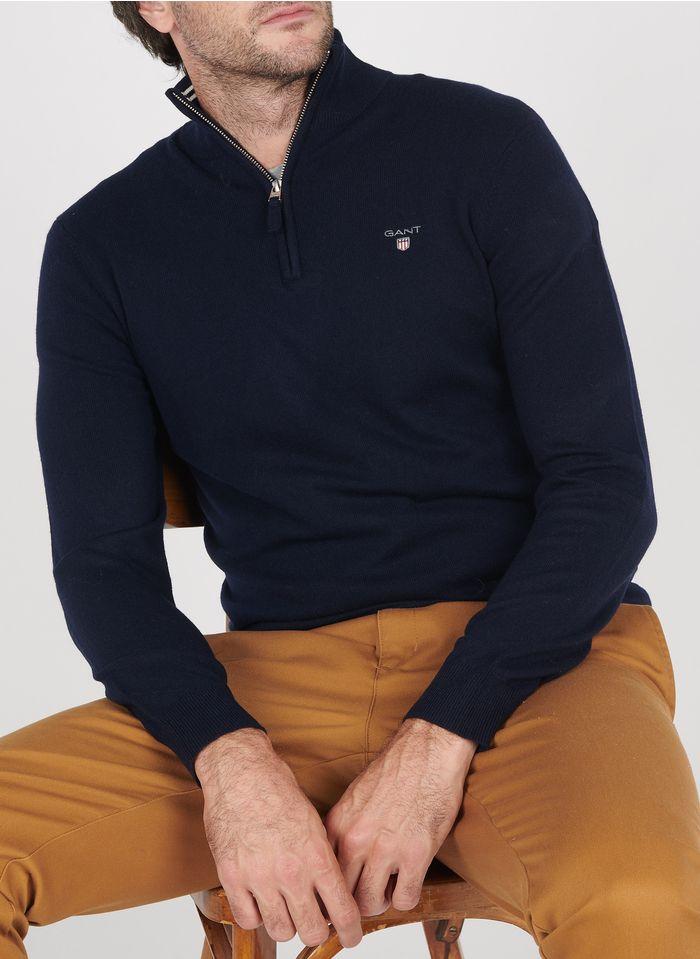 GANT Pullover aus Lammwolle mit Troyer-Kragen, Regular Fit in Blau