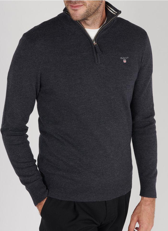 GANT Pullover aus Lammwolle mit Troyer-Kragen, Regular Fit in Grau