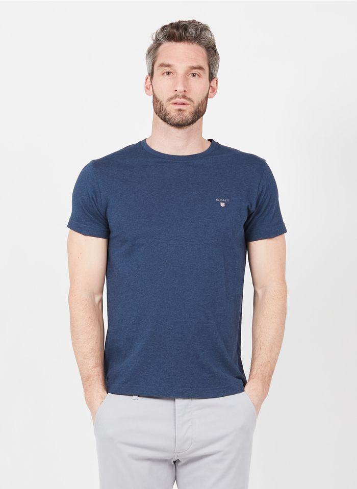 GANT Rundhals-T-Shirt aus Baumwolle, Regular Fit in Blau