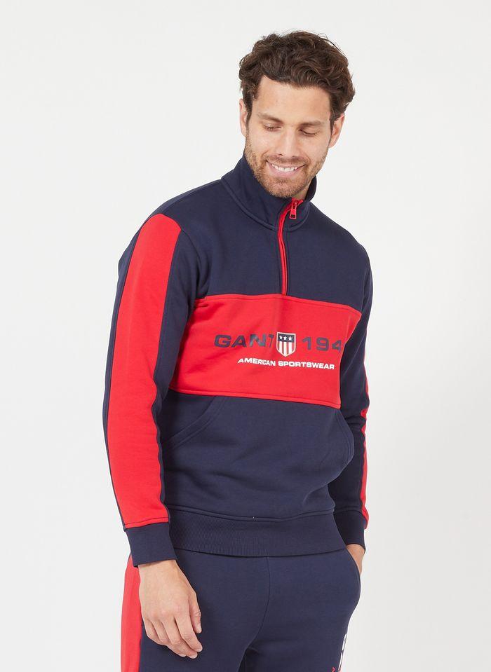 GANT Sweatshirt aus Baumwoll-Mix mit Zip-Kragen in Blau