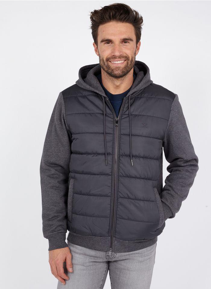 HACKETT Kapuzensweatshirt aus Material-Mix mit Reißverschluss in Grau