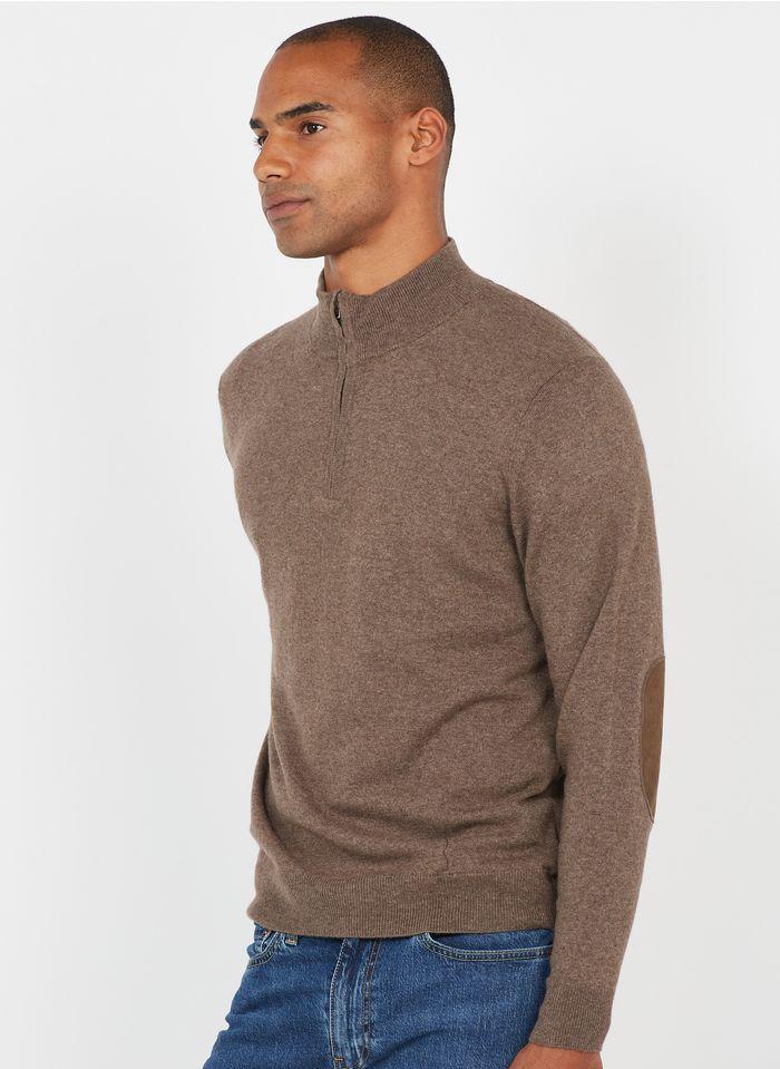 HACKETT Pullover aus Baumwoll-Mix mit Zip-Kragen, Regular Fit in Beige