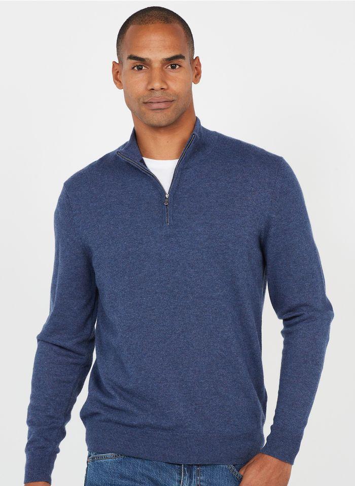 HACKETT Pullover aus Baumwoll-Mix mit Zip-Kragen, Regular Fit in Blau