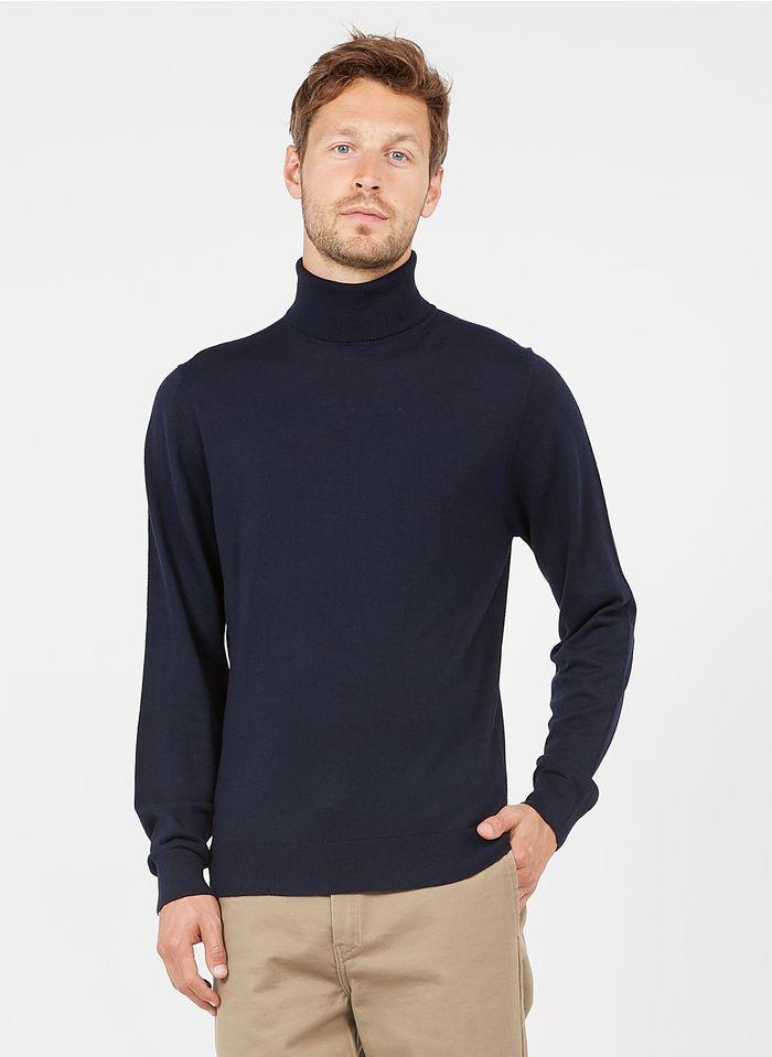 HACKETT Rollkragenpullover aus Wolle und Kaschmir, Regular Fit in Blau
