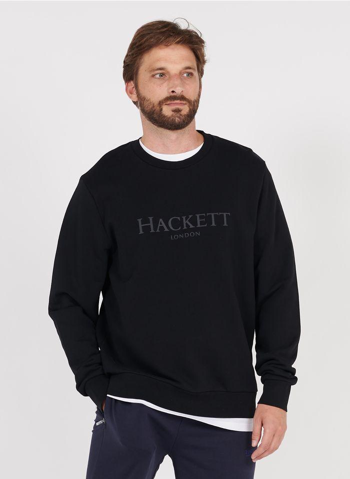 HACKETT Rundhals-Sweatshirt aus Baumwolle mit Siebdruck, Regular Fit in Schwarz