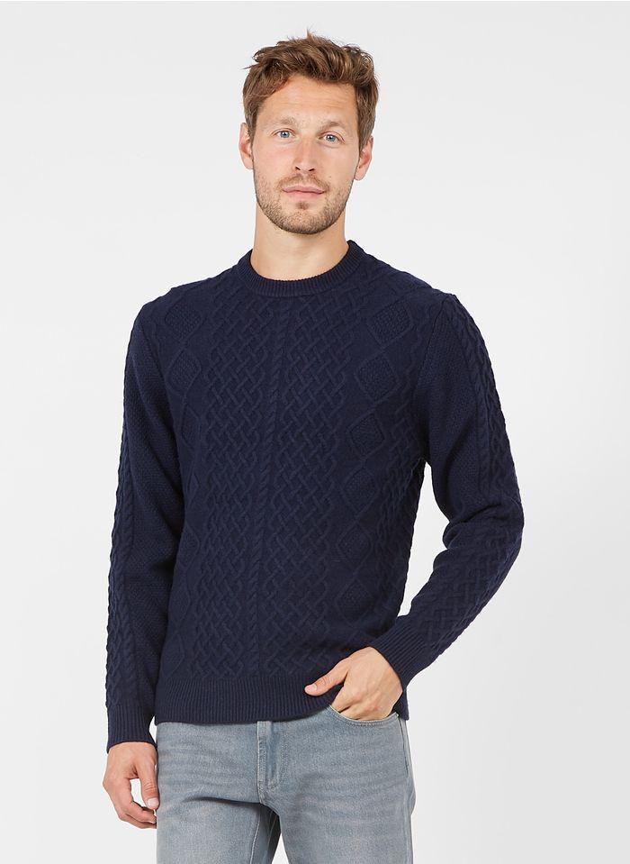 HACKETT Rundhalspullover aus Wolle und Kaschmir, Regular Fit in Blau