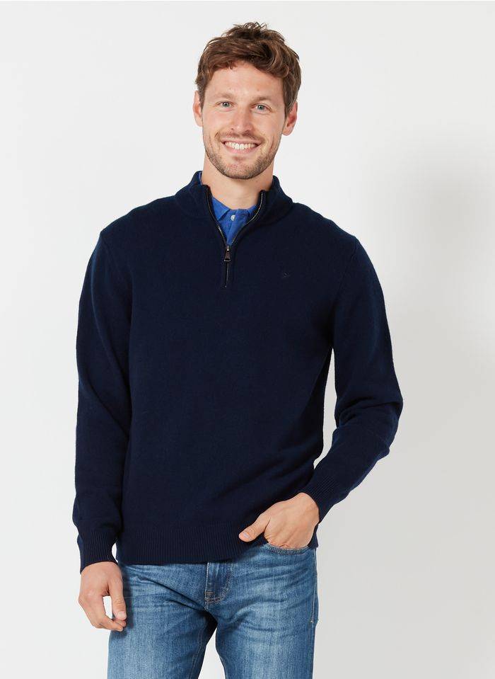 HACKETT Wollpullover mit Reißverschlusskragen, Regular Fit in Blau