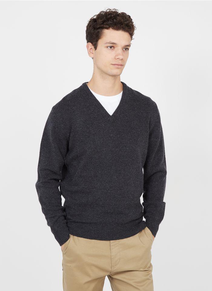 HACKETT Wollpullover mit V-Ausschnitt, Regular Fit in Grau