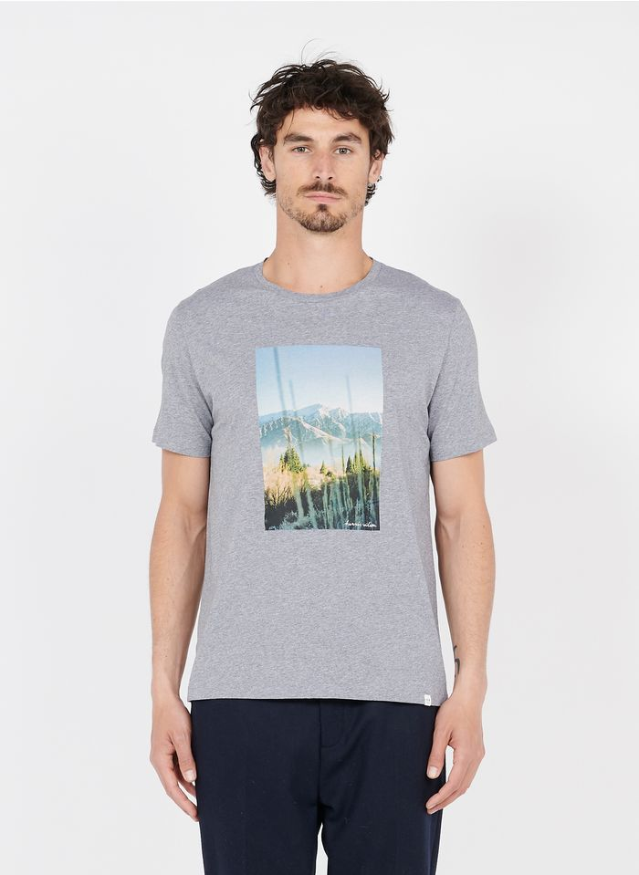 HARRIS WILSON Rundhals-T-Shirt aus Baumwolle mit Siebdruck in Grau