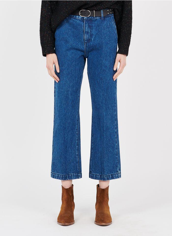 I CODE Flared High Waist Cropped Jeans in Blau