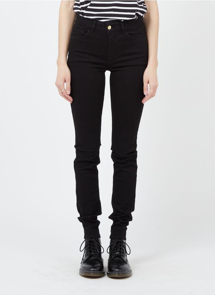 I CODE High Waist Slim Fit Jeans aus Raw Denim in Schwarz