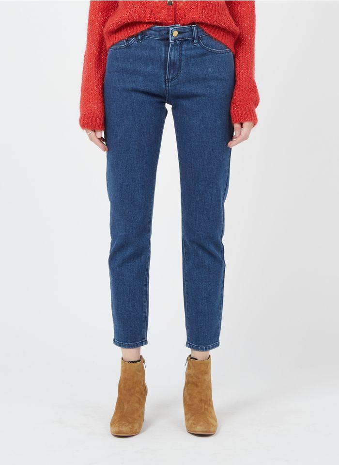 I CODE Stone Washed Boyfriend-Jeans mit hohem Bund in Blau