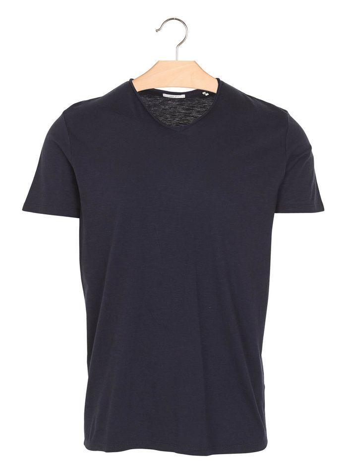 IKKS Baumwoll-T-Shirt mit V-Ausschnitt in Blau