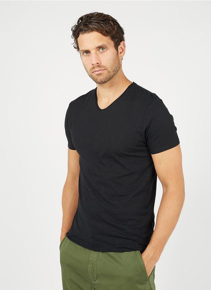 IKKS Baumwoll-T-Shirt mit V-Ausschnitt, Regular Fit in Schwarz