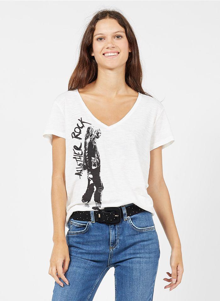 IKKS Bedrucktes Baumwoll-T-Shirt mit V-Ausschnitt in Weiß