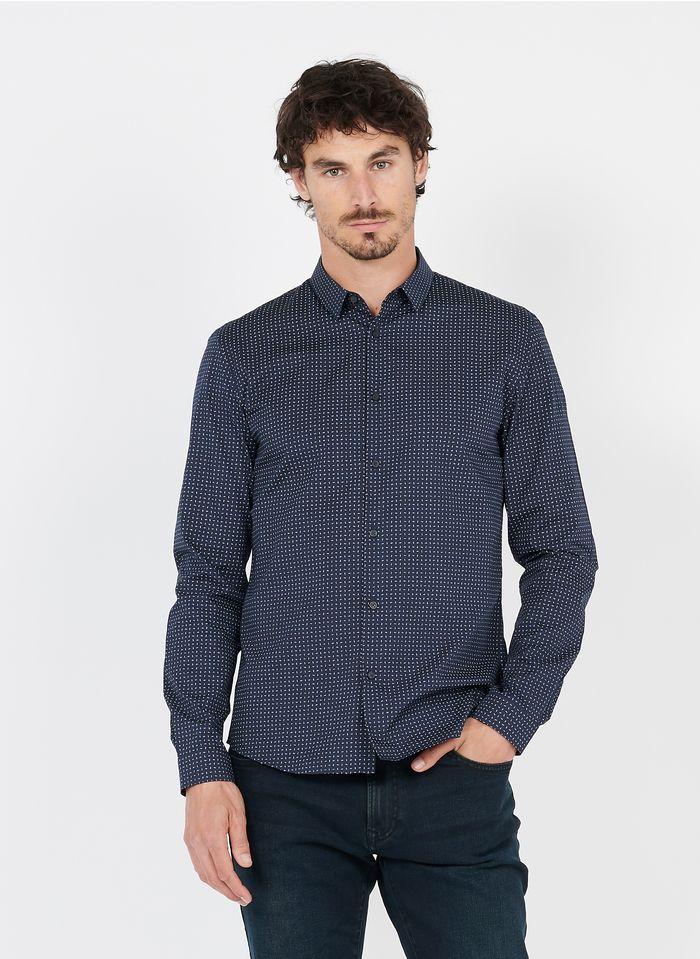 IKKS Bedrucktes Baumwollhemd mit klassischem Kragen, Slim Fit in Blau