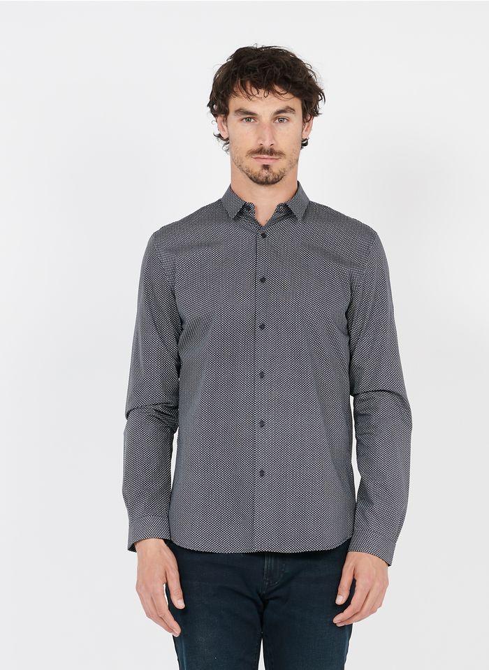 IKKS Bedrucktes Baumwollhemd mit klassischem Kragen, Slim Fit in Schwarz