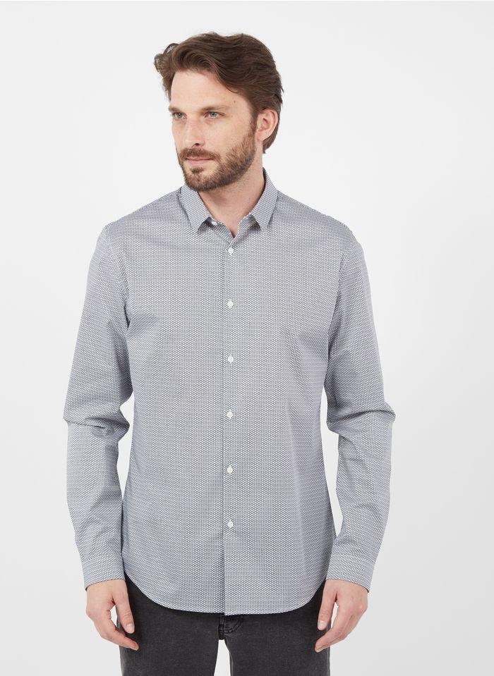 IKKS Bedrucktes Hemd aus Baumwoll-Mix mit klassischem Kragen, Slim Fit in Blau