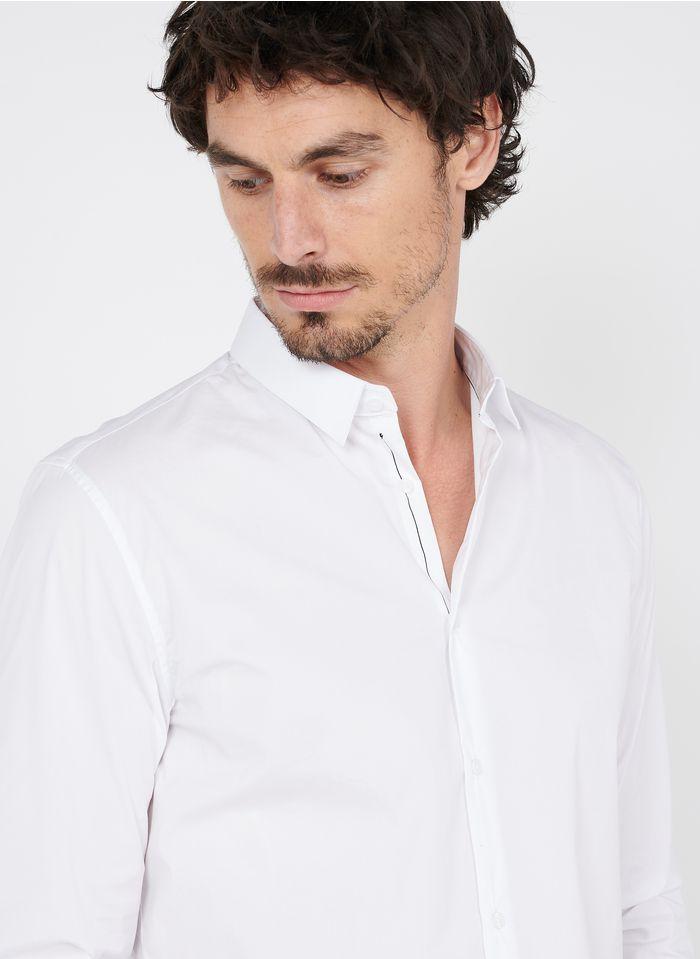 IKKS Bedrucktes Hemd aus Baumwoll-Mix mit klassischem Kragen, Slim Fit in Weiß