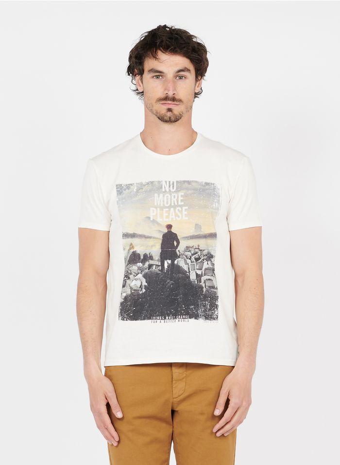 IKKS Bedrucktes Rundhals-T-Shirt aus Baumwolle in Weiß