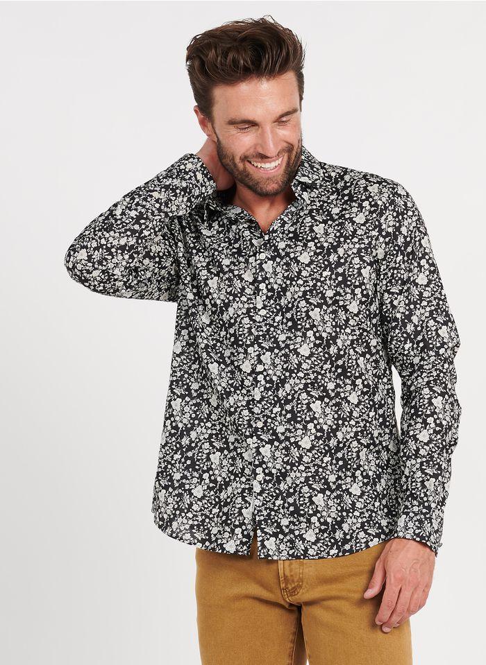 IKKS Geblümtes Baumwollhemd mit klassischem Kragen, Slim Fit in Schwarz