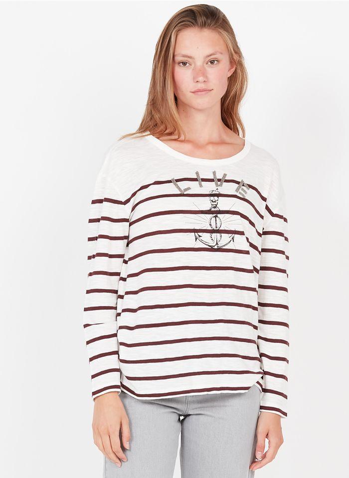 IKKS Gestreiftes Rundhals-T-Shirt aus Baumwolle und Modal mit Perlenverzierung in Weiß