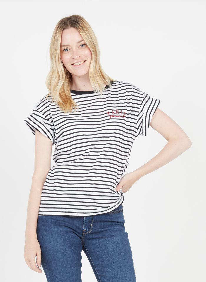 IKKS Gestreiftes Rundhals-T-Shirt aus Bio-Baumwolle in Weiß