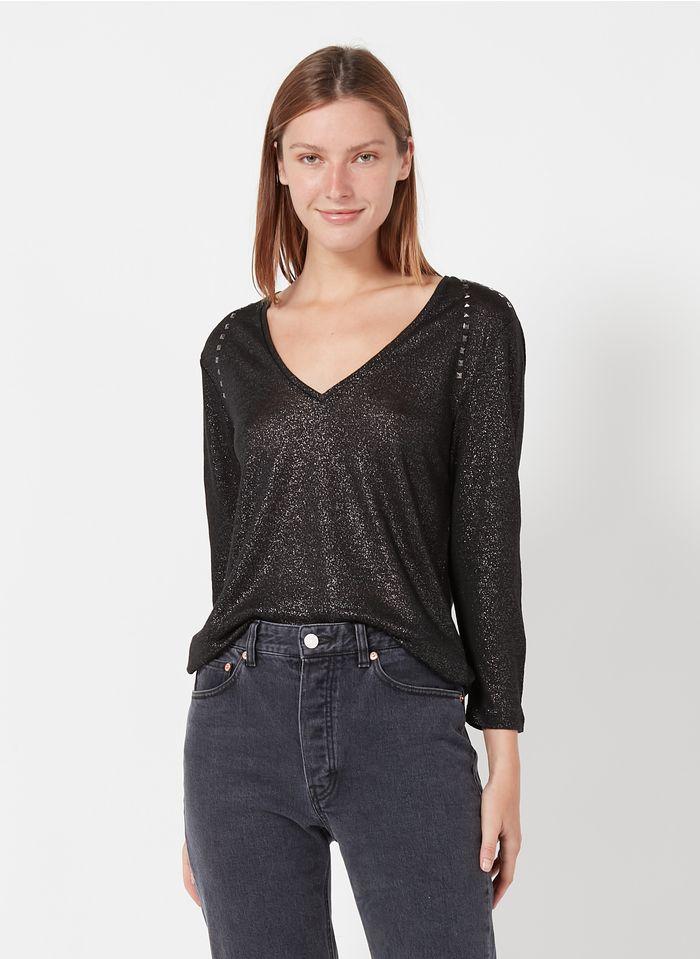 IKKS Leinen-T-Shirt mit V-Ausschnitt und Nieten in Schwarz