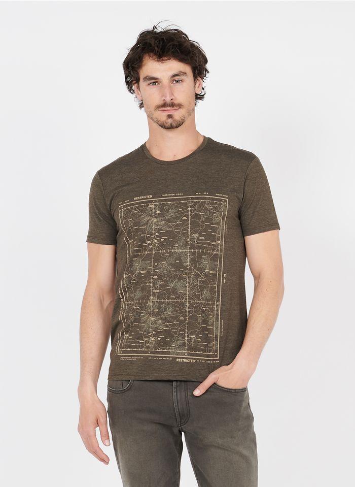 IKKS Rundhals-T-Shirt aus Baumwoll-Mix mit Siebdruck, Regular Fit in Braun