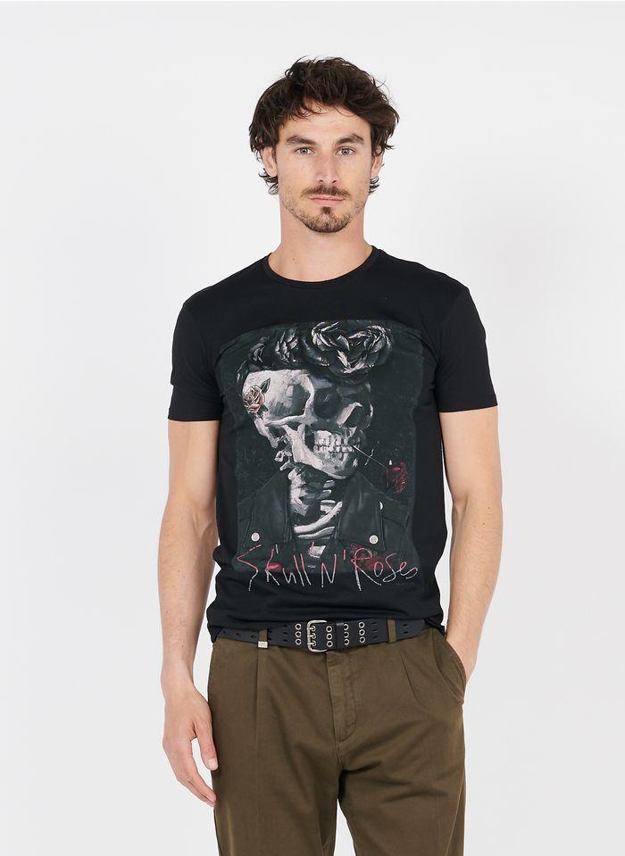 IKKS Rundhals-T-Shirt aus Baumwolle mit Siebdruck, Regular Fit in Schwarz