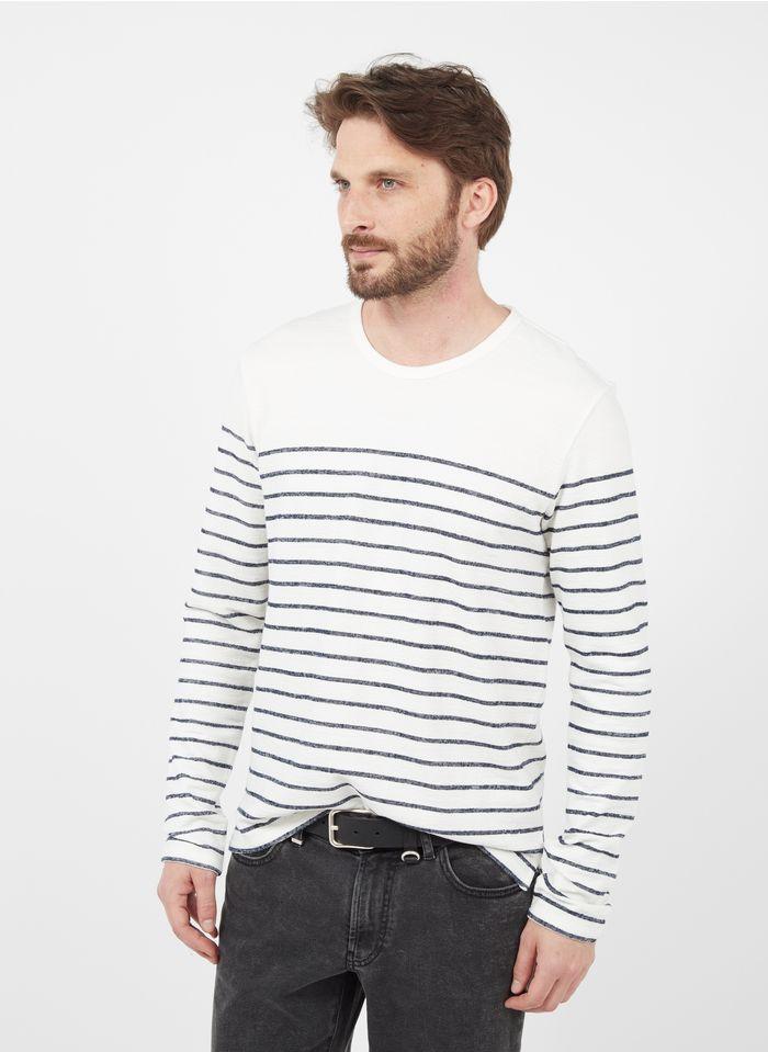 IKKS Rundhals-T-Shirt aus Baumwolle mit Streifen, Regular Fit in Weiß