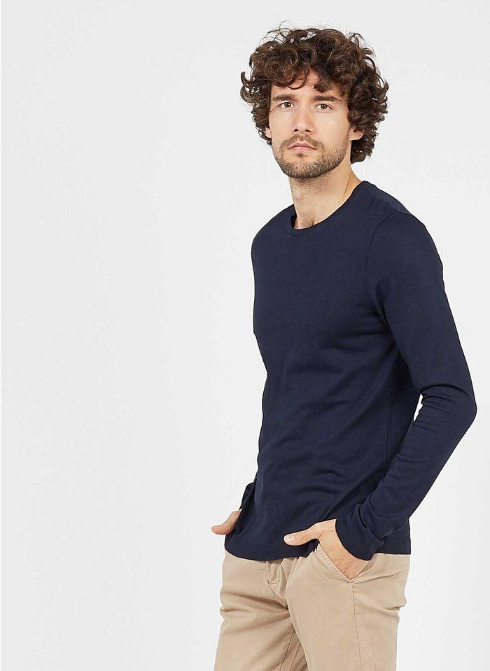 IKKS Rundhals-T-Shirt aus Baumwolle und Modal, Regular Fit in Blau