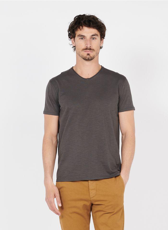 IKKS T-Shirt aus Baumwoll-Flammgarn mit V-Ausschnitt, Slim Fit in Braun