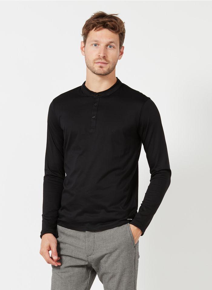 IKKS T-Shirt aus Baumwoll-Mix mit Henley-Ausschnitt in Schwarz