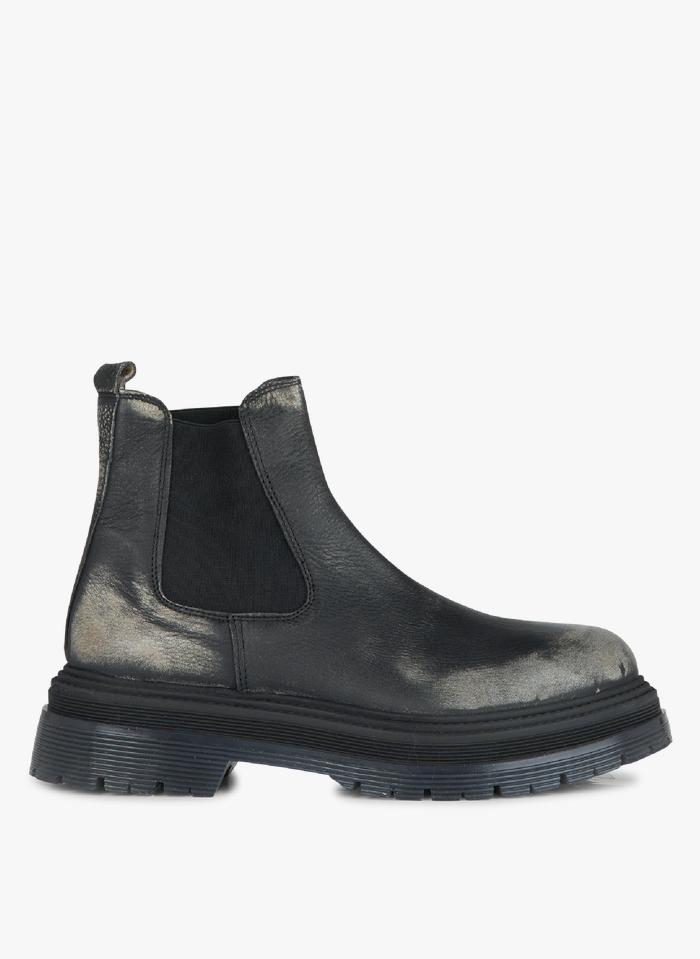 JONAK Chelsea-Boots aus Leder in Antik-Optik mit Absatz in Grau