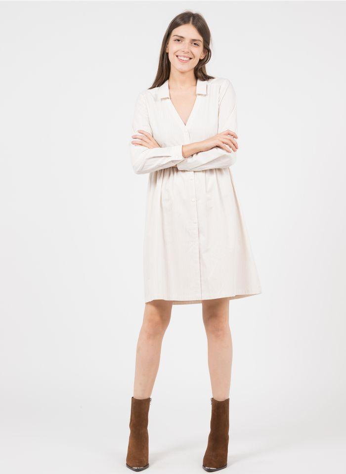 KARL MARC JOHN Kurzes Baumwollkleid mit V-Ausschnitt und Streifen in Weiß