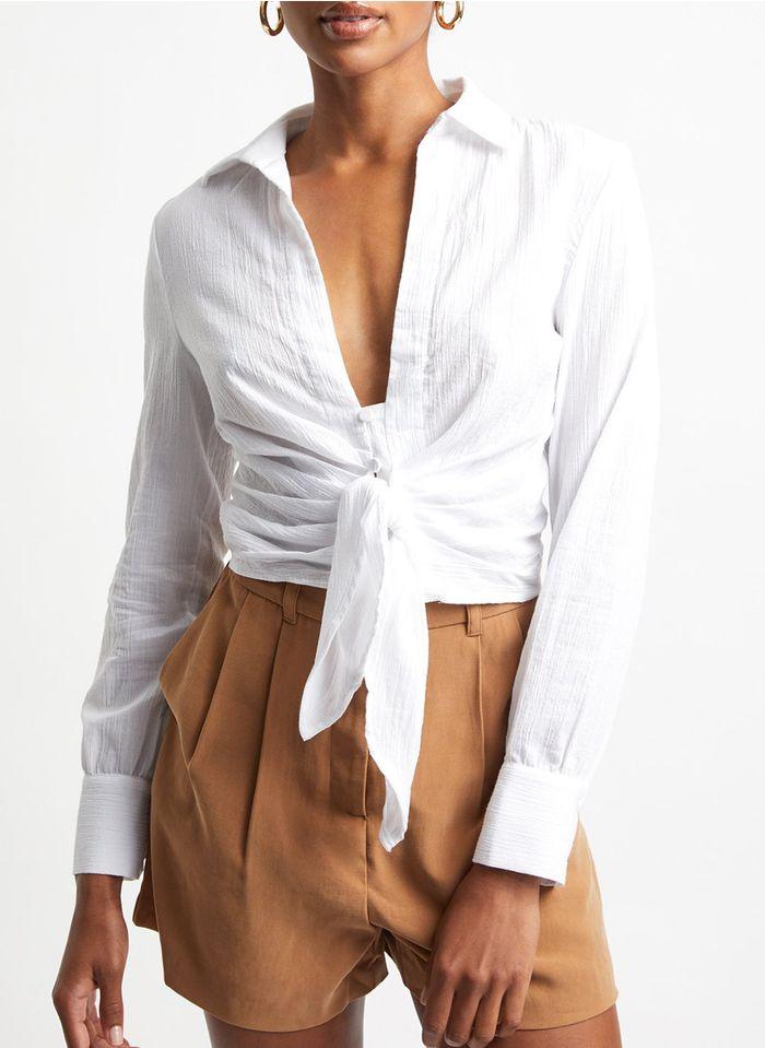 KOOKAI Baumwoll-Top zum Binden mit klassischem Kragen in Weiß